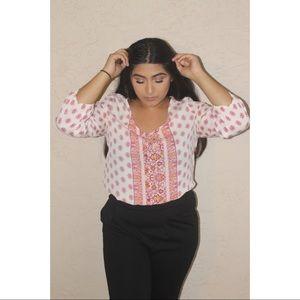 Oriental printed pink blouse